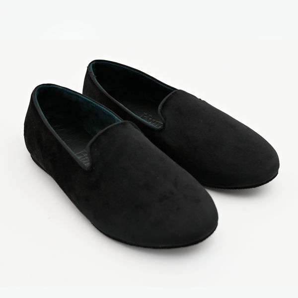 Hums Slippers - Men And Women Black Velvet Rubber Sole Magic Loafers