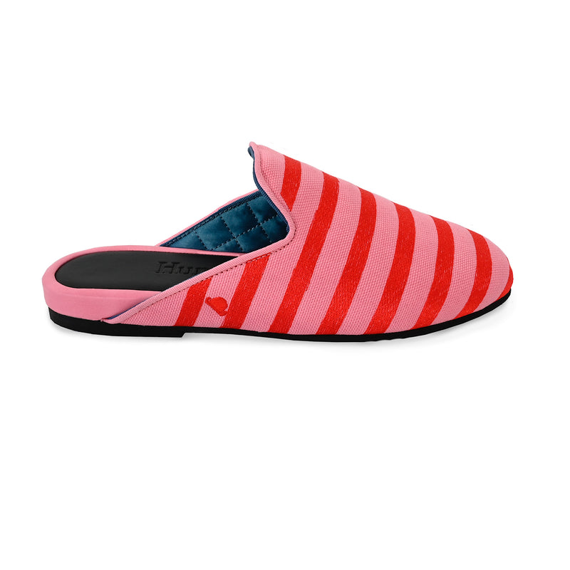 Hums Slippers - Classic Comfortable Candy Stripe Pink Open Loafers