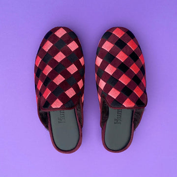 HUMS PINK CHECK OPEN SLIPPER / AVAILABLE FOR PRE-ORDER ONLY