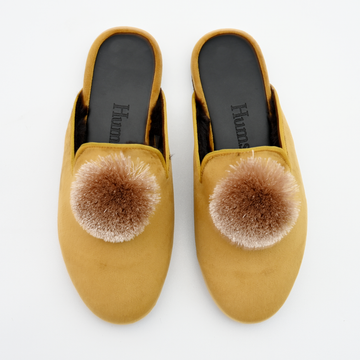 Hums slippers - Lion yellow velvet slipper