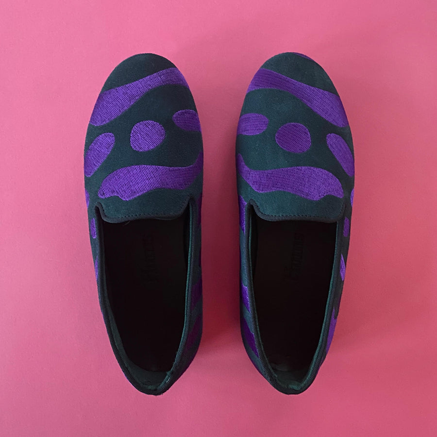 Hums Slippers - Purple Tiger Stripe Loafers