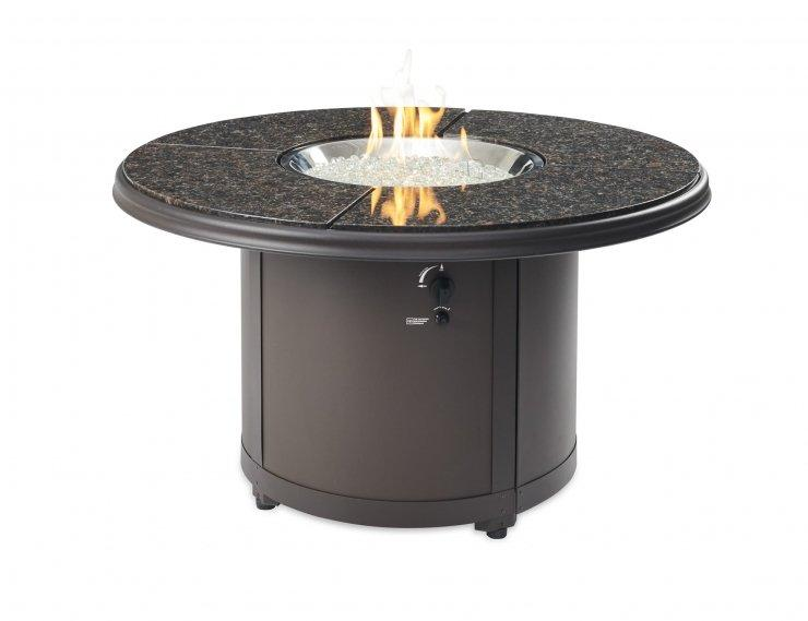 Outdoor Greatroom Company BC-20-BG Brown Granite Beacon Chat Height Gas Fire Pit Table