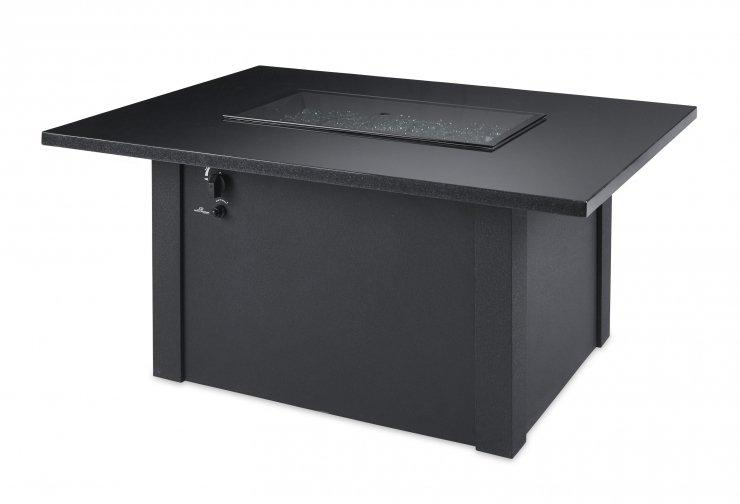 Outdoor Greatroom Company GS-1224-BLK-K Black Grandstone Rectangular Gas Fire Pit Table