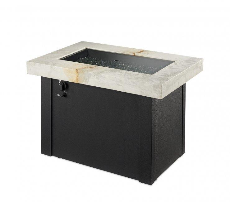 Outdoor Greatroom Company PROV-1224-WO-K White Providence Rectangular Gas Fire Pit Table