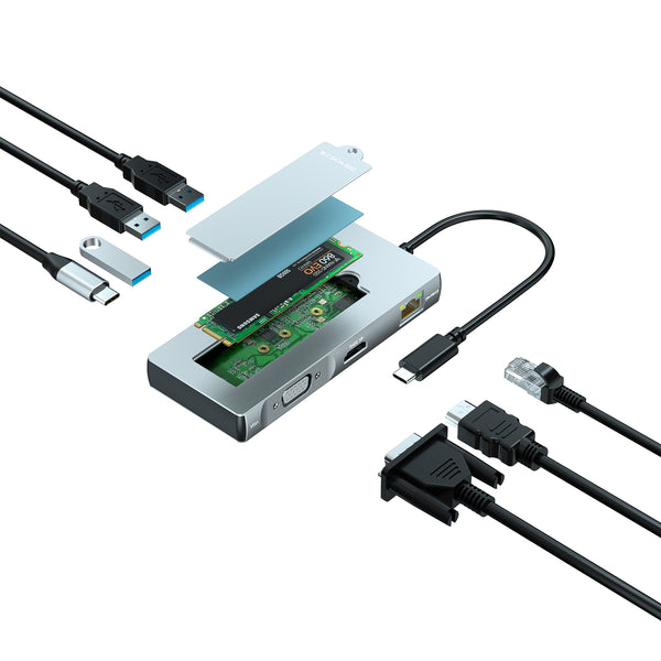 HybridHub-S USB-C Hub with M.2 SATA SSD Enclosure