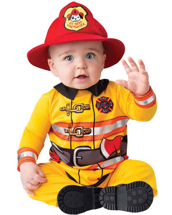 Image of baby wearing yellow firefighter costume with red hat.