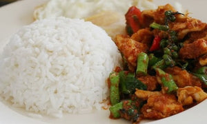 Spicy Stir Fried Red Curry With Pork And Rice  ข้าวผัดพริกแกงหมู