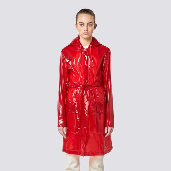 Transparent Belt Jacket - Glossy Red