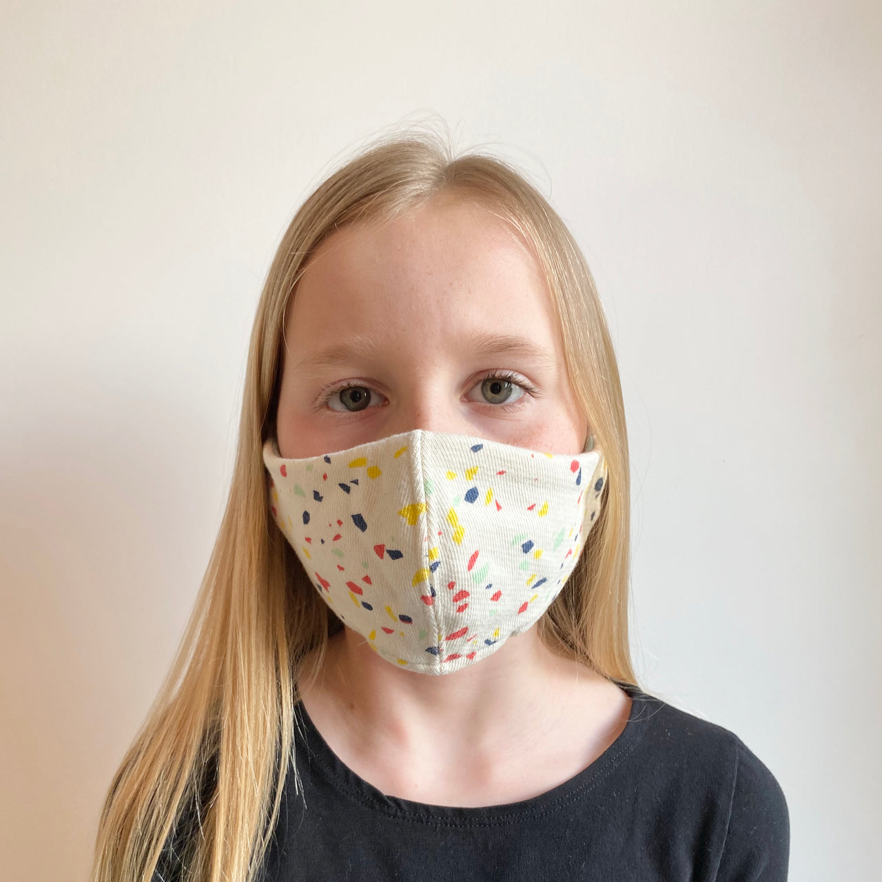 Neutral Terrazzo Cloth Mask - Kids 6-10