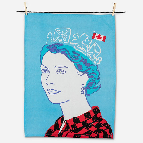 Queen in Buffalo Check Tea Towel