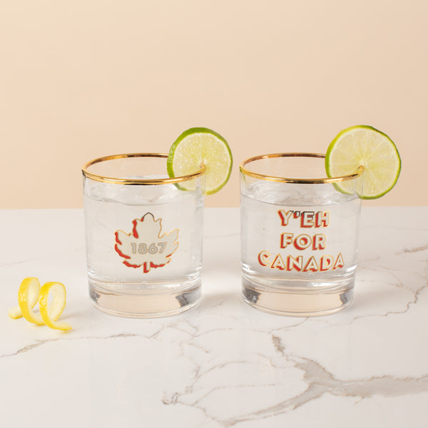Bar Glass Set - Y'eh For Canada