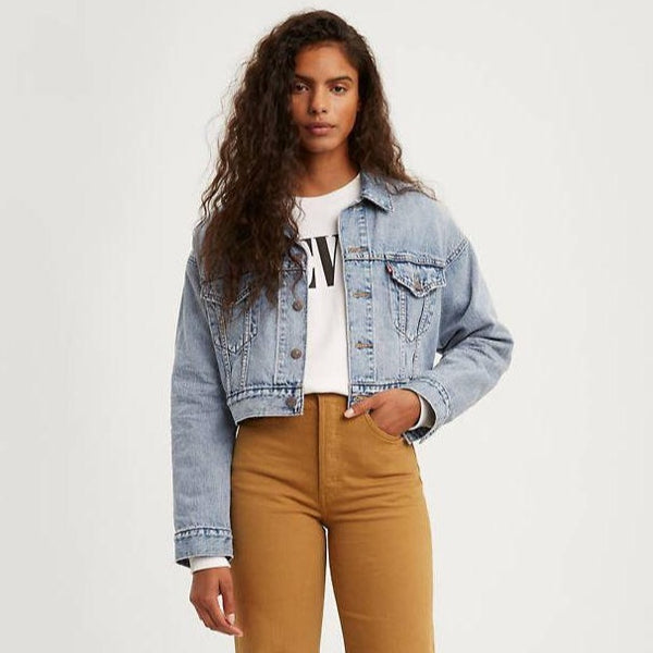 Crop Dad Trucker Jacket - Dad Dillon Medium Wash