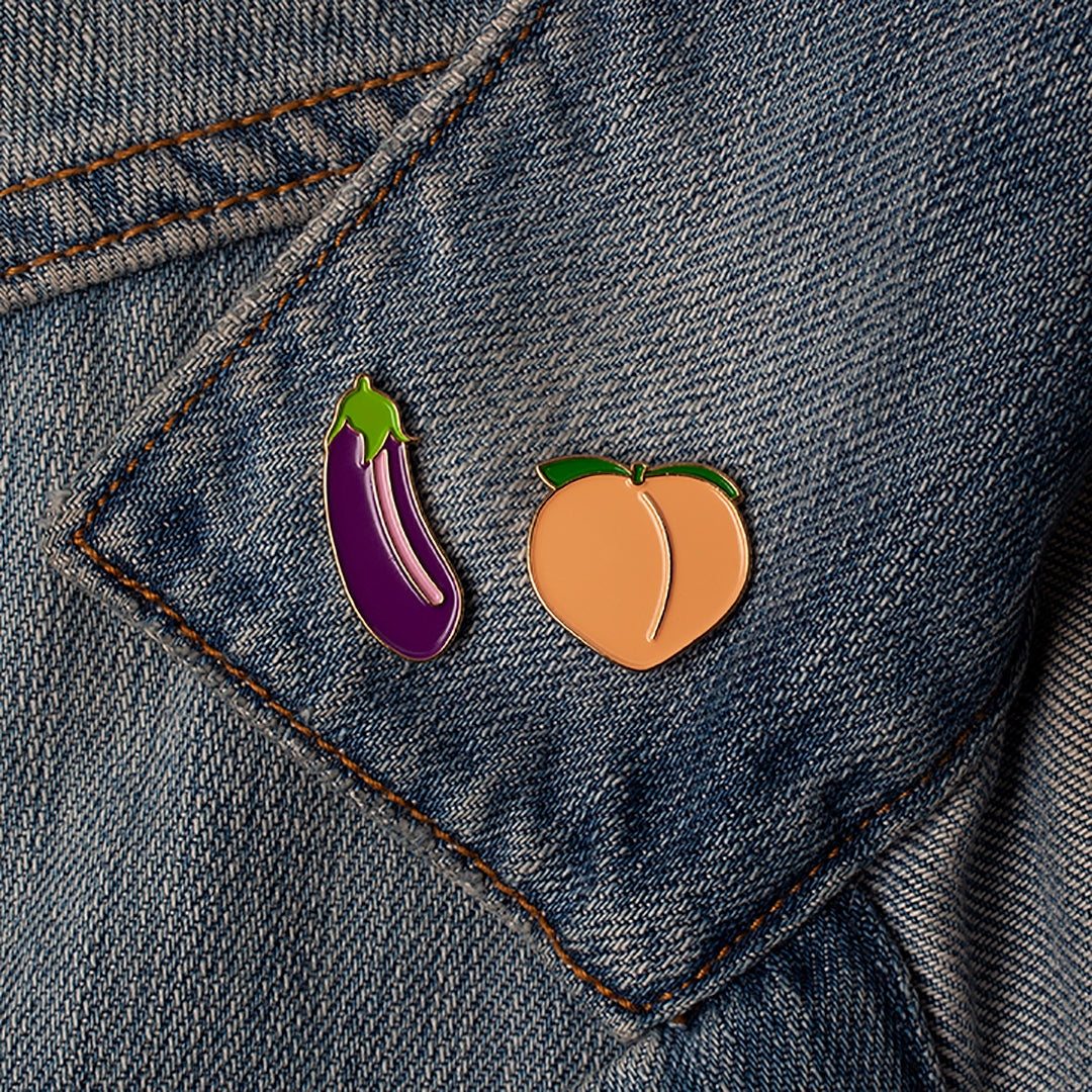 Enamel Pin - Eggplant + Peach Set