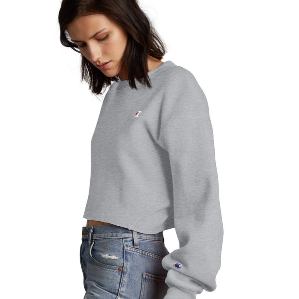 Reverse Weave Cropped Cut Off Crew - Oxford Grey