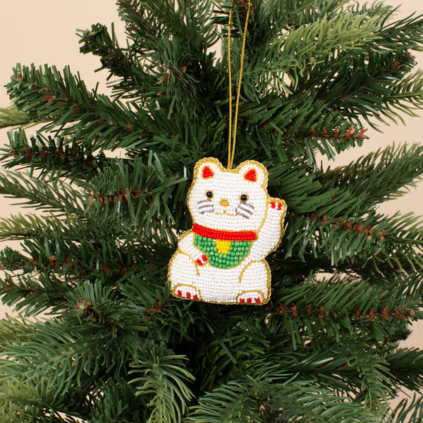 Embroidered Ornament - Lucky Cat