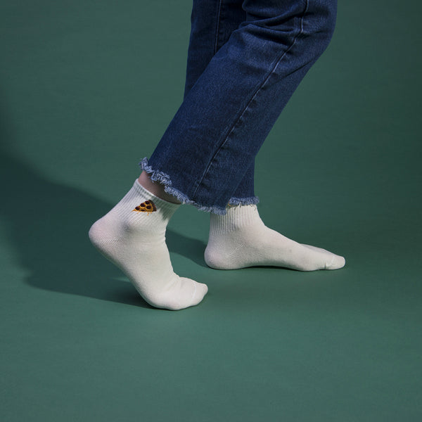 Pizza Embroidered Socks