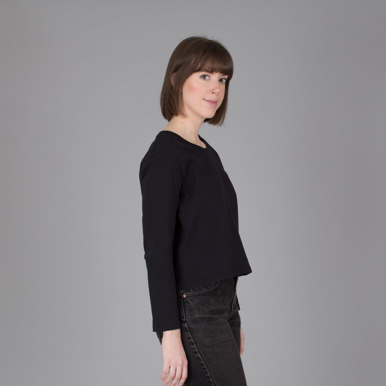 Current Fit Carded Cotton Long Sleeve  - Black