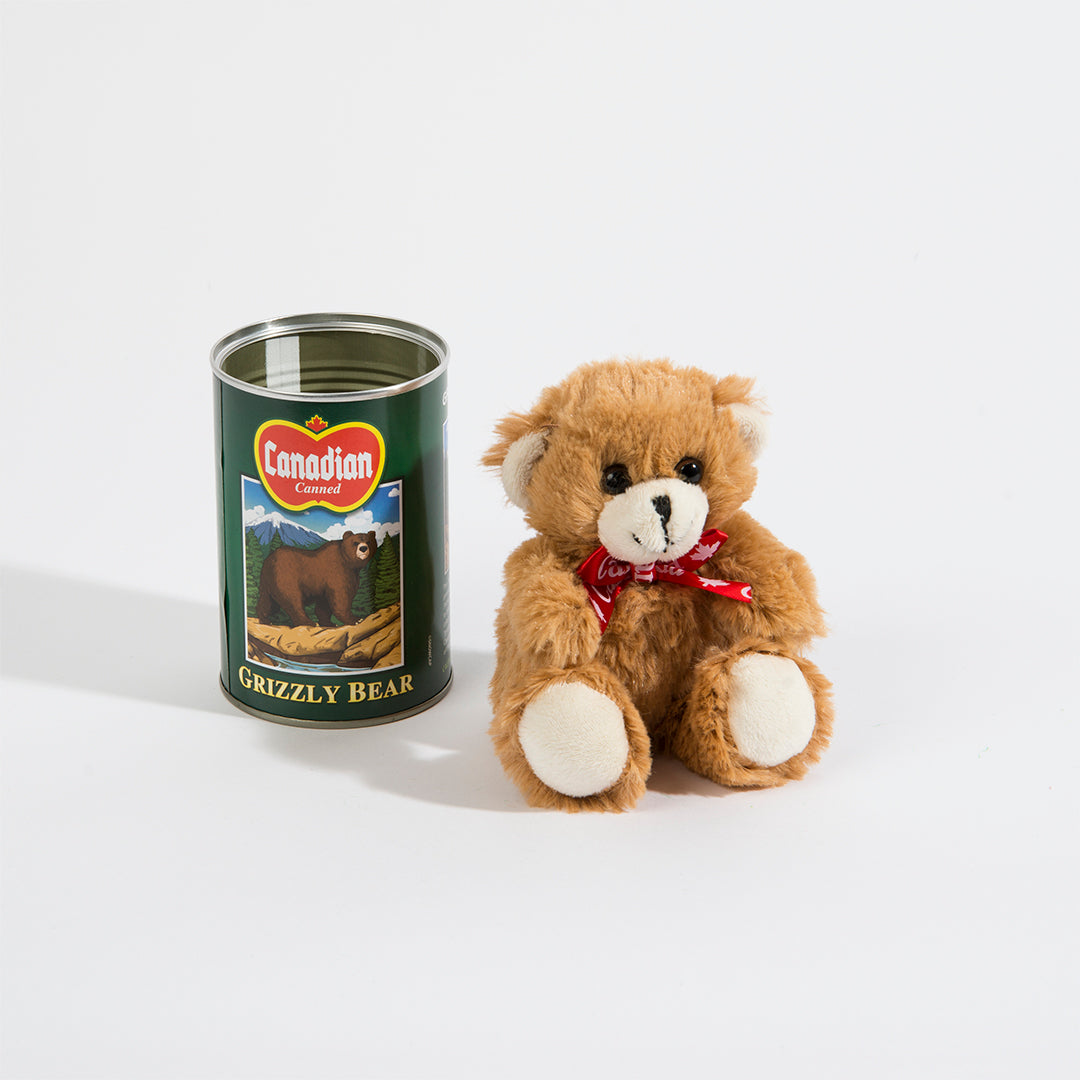Grizzly Bear Canned Plush Toy