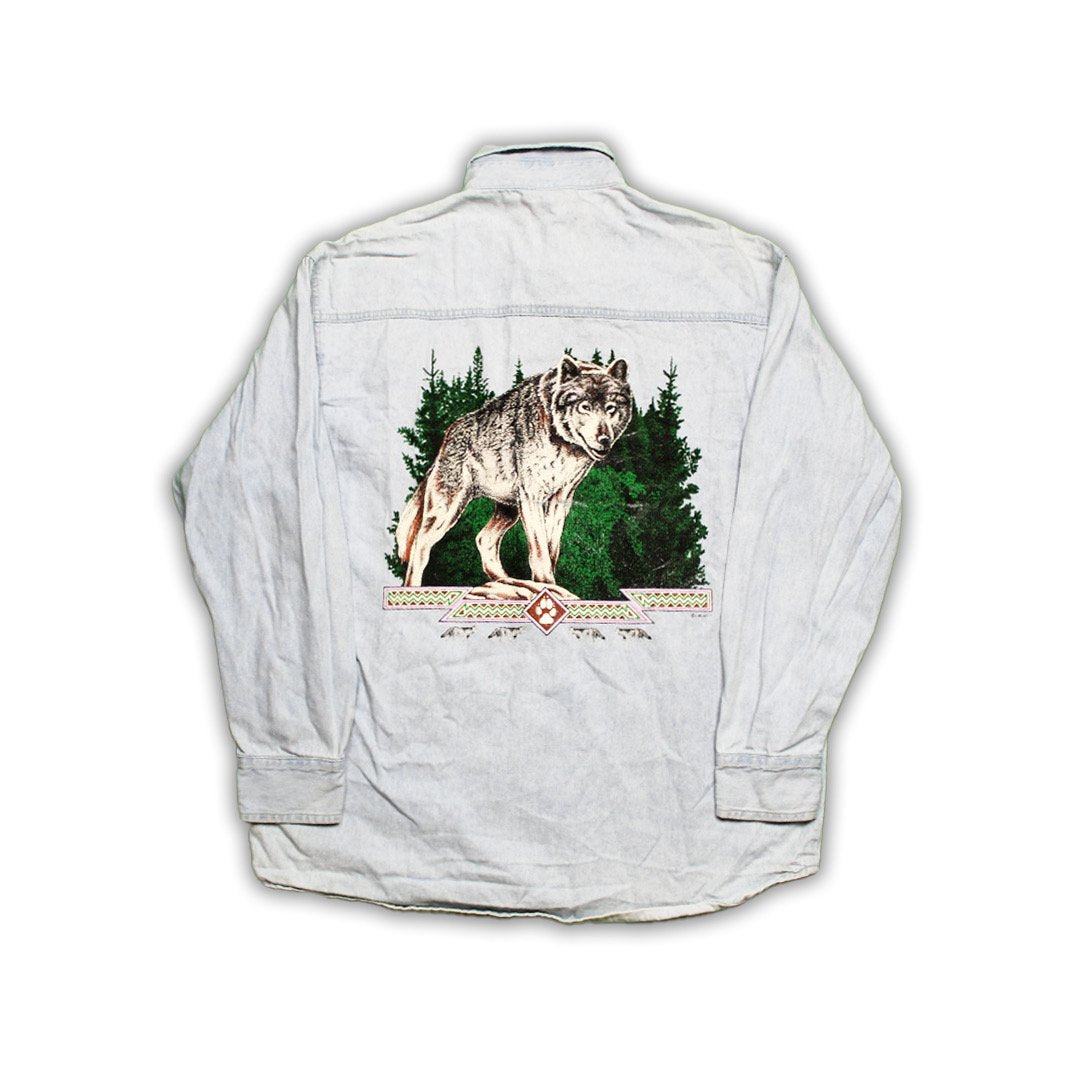 Vintage Beneath The Smoke Wolf Jean Button Up