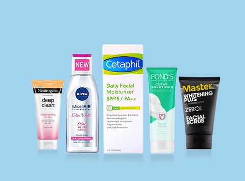 Neutrogena Deep Clean Brightening Facial Cleanser, Nivea MiscellaAir Skin Breathe Extra White Toner, Cetaphil Daily Facial Moisturizer SPF15, Ponds Clear Solution Facial Scrub, and Master Whitening Plus ZerOil Facial Scrub from Southstar Drug