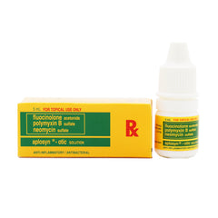 Rx: Aplosyn .025% / 10000 U / 3.5 mg 5 ml Otic Solution