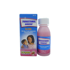 Biogesic For Kids 2 - 6 years old Strawberry Flavor 120 mg / 5 ml 60 ml Oral Suspension