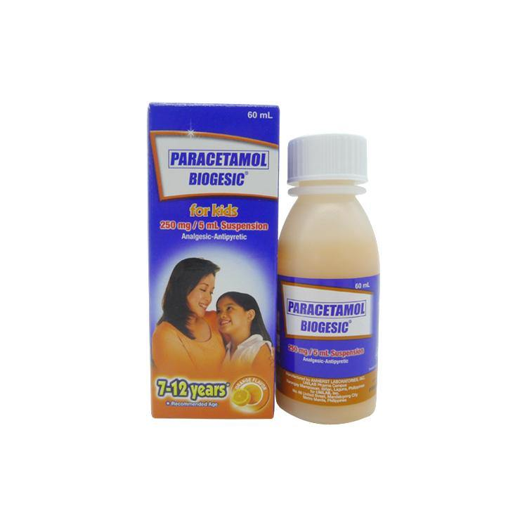 Biogesic For Kids 7 - 12 years old Orange Flavor 250 mg / 5 ml 60 ml Oral Suspension