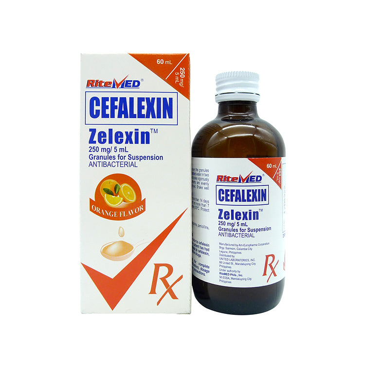 Rx: RiteMed Zelexin Orange Flavor 250 mg / 5 ml 60 ml Granules for Oral Suspension