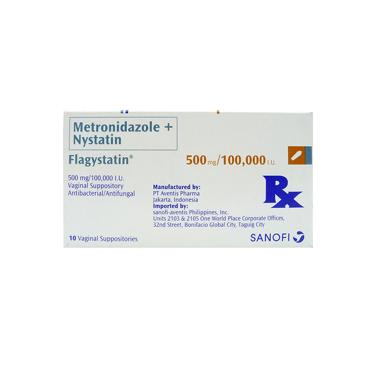 Rx: Flagystatin 500 mg / 100,000 IU Vaginal Suppository