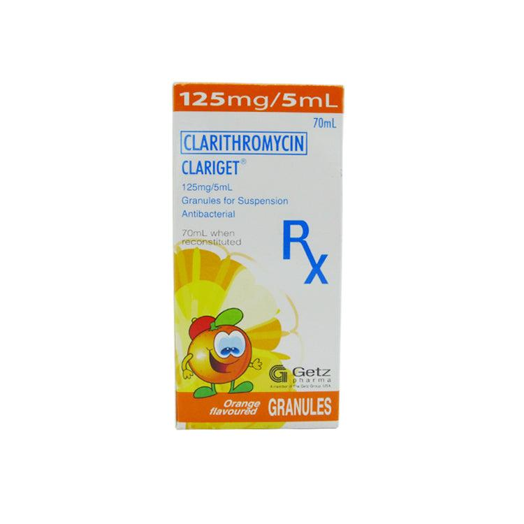 Rx: Clariget Orange Flavor 125 mg / 5 ml 70 ml Oral Suspension