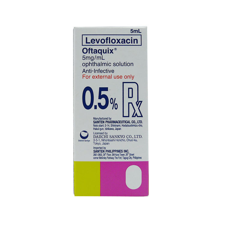 Rx: Oftaquix 5 mg / ml 5 ml Ophthalmic Solution