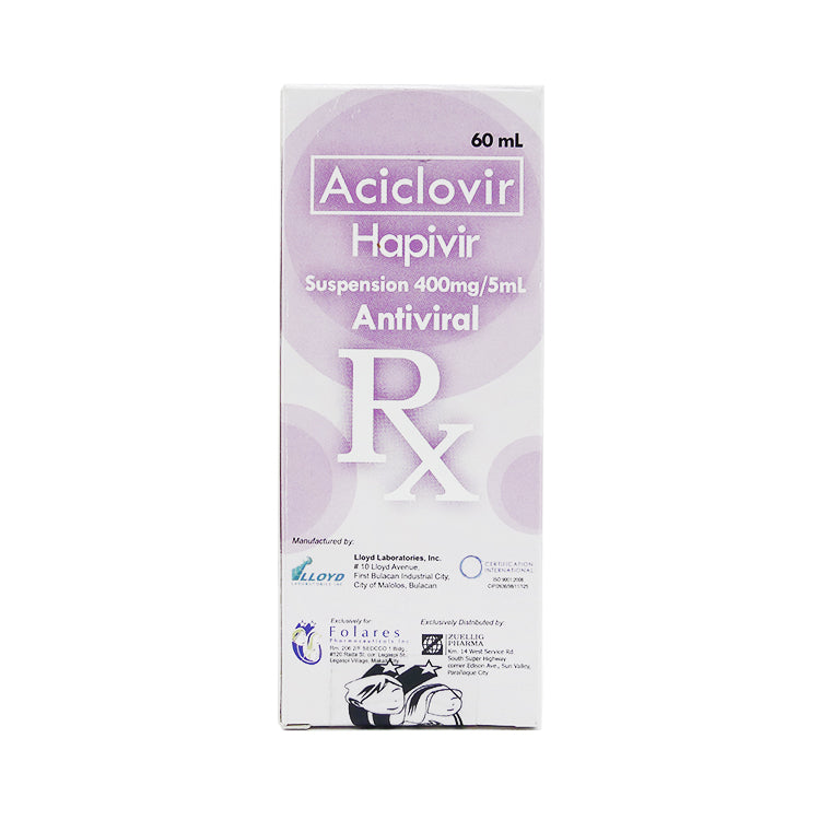 Rx: Hapivir 400 mg / 5 ml 60 ml Suspension