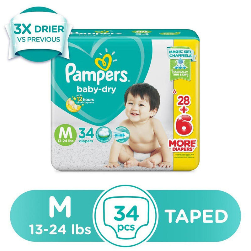 Pampers Baby Dry Taped Diapers Medium - 34s
