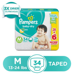 Pampers Baby Dry Taped Diapers Medium - 34s - Southstar Drug