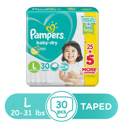 Pampers Baby Dry Taped Diapers Large - 30s - Southstar Drug