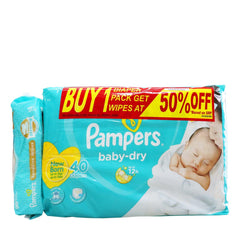 Pampers Baby Dry New Born Diaper with Wipes at 50% OFF Online