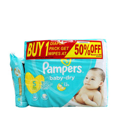Pampers Baby Dry Small Diaper with Wipes at 50% OFF