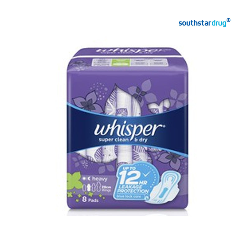 Whisper Super Clean & Dry Heavy Flow / Overnight Sanitary Napkin with Wings - 8s