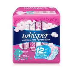 Whisper Cotton Clean Regular Flow Non-Wings - 8s