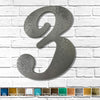 "Number 3 - Metal Wall Art Home Decor - Made in the USA - Choose 10"", 12"" or 16"" Tall - Choose your Patina Color! Choose any letter FREE SHIPPING"