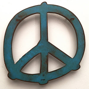 "Peace Symbol - Metal Wall Art Home Decor - Handmade in the USA - Choose 7.5"", 12"",  or 17""  Choose your Patina Color - Free Ship"
