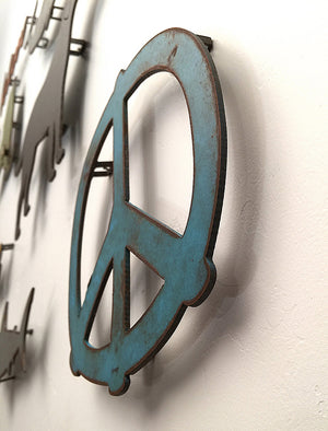 "Peace Symbol - Metal Wall Art Home Decor - Handmade in the USA - Choose 7.5"", 12"",  or 17"" - Choose your Patina Color! FREE SHIP"