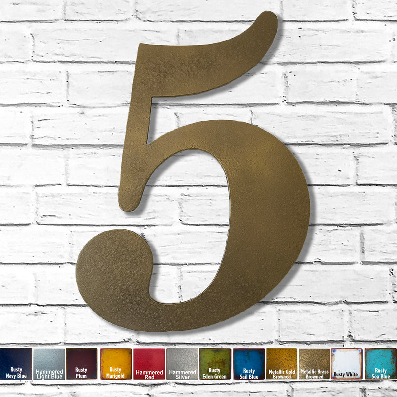 "Number 5 - Metal Wall Art Home Decor - Made in the USA - Choose 10"", 12"" or 16"" Tall - Choose your Patina Color! Choose any letter - Free Ship"