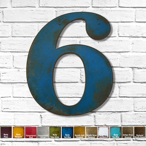"Number 6 - Metal Wall Art Home Decor - Made in the USA - Choose 10"", 12"" or 16"" Tall - Choose your Patina Color! Choose any letter - Free Ship"