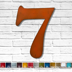 "Number 7 - Metal Wall Art Home Decor - Made in the USA - Choose 10"", 12"" or 16"" Tall - Choose your Patina Color! Choose any letter - Free Ship"