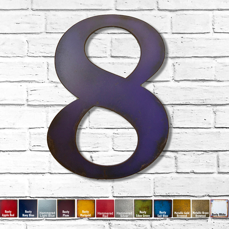Number 8 - Metal Wall Art Home Decor - Made in the USA - Choose 10