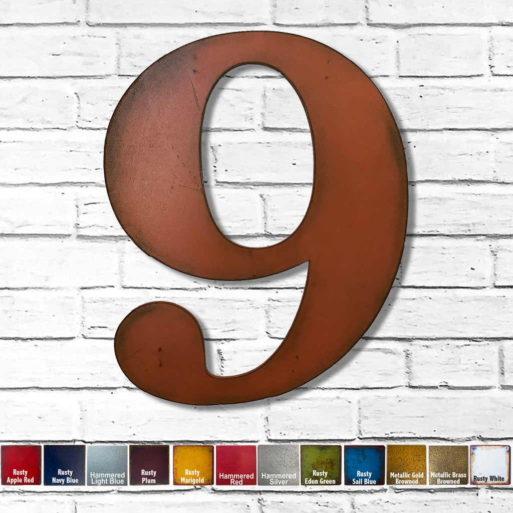 "Number 9 - Metal Wall Art Home Decor - Made in the USA - Choose 10"", 12"" or 16"" Tall - Choose your Patina Color! Choose any letter FREE SHIPPING"