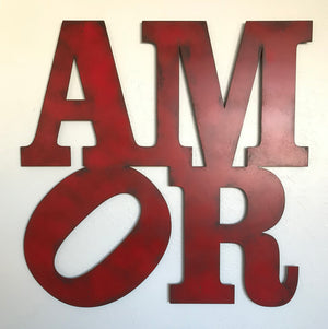 "AMOR sign - Robert Indiana Style - Metal Wall Art Home Decor - Handmade in the USA - Choose 9"", 11"",  or 17"" - Choose your Patina Color - Free Ship"