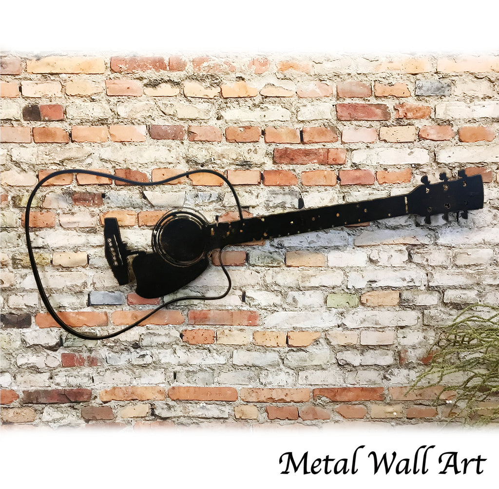Acoustic guitar shaped metal wall art home decor handmade by Functional Sculpture llc
