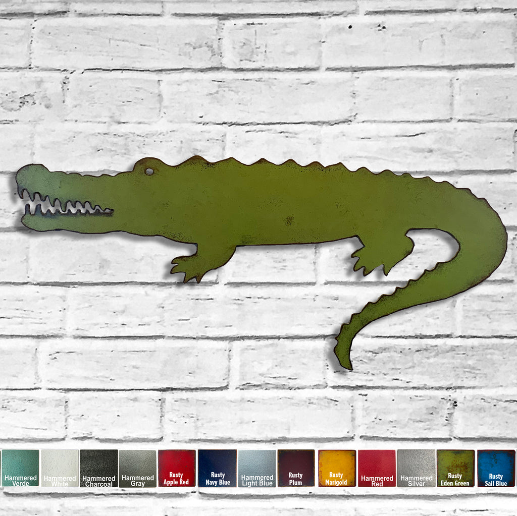 Alligator crocodile metal wall art home decor handmade by Functional Sculpture llc